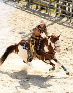 """Flying through an agility course atop a galloping charger isn't """"normal"""" horseback riding. Barrel racers aren't quite as crazy as, say, rodeo bull riders, but the pictures with this article show a little bit of what Lenseigne's horses can do. Western Horse Riding, Cowgirl And Horse, Horse Girl, Horse Love, Most Beautiful Animals, Beautiful Horses, Foto Cowgirl, Westerns, Cowgirl Pictures"""