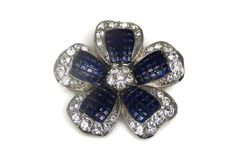 Avon Thermoset Crystal Flower Brooch Rhodium Plated by TheFashionDen on Etsy