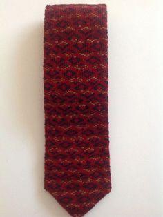 Mens Vintage Knit Tie Geometric Design Fall Winter Colors #Tie