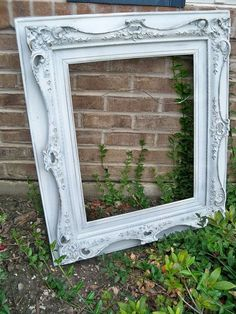 Large shabby chic carved wood frame hand painted white ornate farmhouse home decor  Anita Spero. via Etsy.