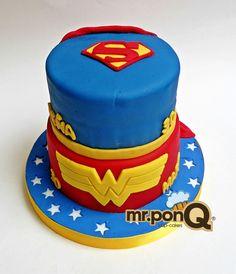 Mr.ponQ torta superman y mujer maravillaa