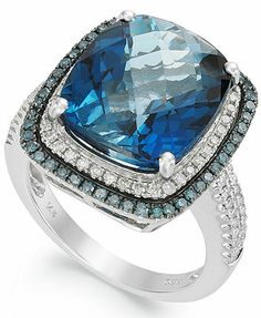 14k White Gold London Blue Topaz (13-1/2 ct. t.w.) and Blue and White Diamond (5/8 ct. t.w.) Ring