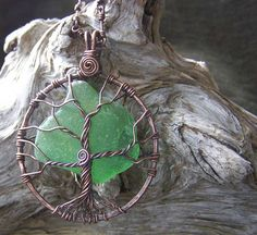 Recycled Sea glass and Copper Tree Necklace by mackerelskyjewelry, $50.00