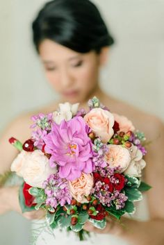 #SunshineDesignsWeddingFlowers #bouquets with bling fuchsia dahlias and wax flower, peach ranunculus, roses and garden roses, burgundy hypericum berries and mini carnations #PensacolaWedding #Pensacola #PensacolaFlorist #PensacolaWeddingFlorist #PensacolaWeddingFlowers #PensacolaBeachWeddingFlowers #PensacolaWeddingFlorist #alpandislephotographer