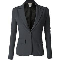 LE3NO Womens Single Button Oversized Boyfriend Blazer (165 DKK) found on Polyvore featuring women's fashion, outerwear, jackets, blazers, boyfriend blazer jacket, oversized blazer, boyfriend blazer, blazer jacket and oversized boyfriend blazer