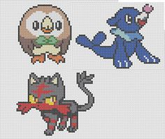 Pokémon Sun and Moon's New Generation (Rowlet, Litten and Popplio) Perler Bead Patterns
