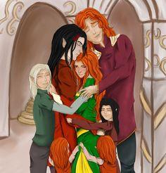 Fëanor, Nerdanel, Celegorm, Amrod, Amras, Curufin and Maedhros