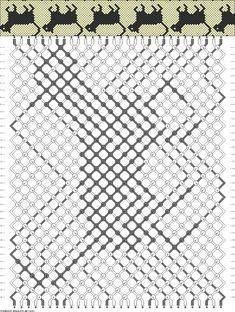 "30 strings 36 rows 2 colors  Pattern  note: ""K. cat lady bracelet pattern"""