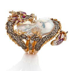ROBERTO Coin, bague de la collection Pearl Dragon - perle, or rose, or blanc, saphirs roses, diamants blancs et marron