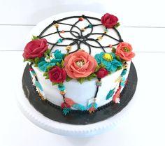 A pretty dreamcatcher birthday cake! Cakes To Make, Cakes And More, How To Make Cake, Pretty Cakes, Cute Cakes, Beautiful Cakes, Amazing Cakes, Dream Catcher Cake, Dream Catchers