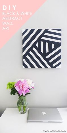 35 Wall Art Ideas for the Bedroom - DIY Modern Black And White Abstract Art - Rustic Decorating Projects For Bedroom, Brilliant Wall Art Projects, Cre Simple Wall Art, Diy Wall Art, Diy Wall Decor, Diy Art, Deco Tape, Mur Diy, Cuadros Diy, Diy Y Manualidades, Ideias Diy