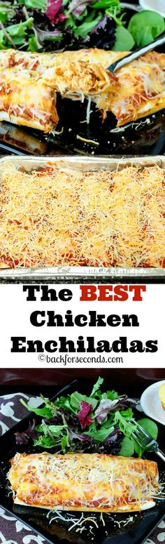 BEST Chicken Enchiladas - creamy, cheesy and a family favorite!The BEST Chicken Enchiladas - creamy, cheesy and a family favorite! Great Recipes, Dinner Recipes, Favorite Recipes, Dinner Ideas, Appetizer Recipes, Mexican Dishes, Mexican Food Recipes, Chicken Enchilladas, Burritos