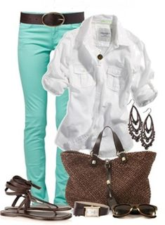 Cabi thin mint jegging and perfect tee with weave itt
