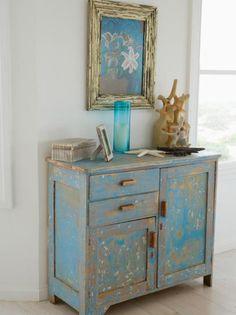 Antique Distressed Blue Chest