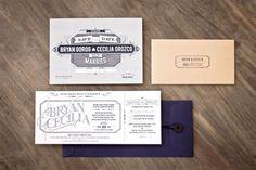 Letterpress wedding invitation suite by Arian Franz