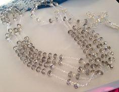 Crystal wedding laso/ lasso/ Lazo 12mm Smoke Gray silver coated crystal / laso de boda en crystal Color Humo Gris con plata/ , $125.00