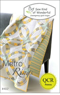 Connecting Threads received this delightful pattern, Metro Rings, and a clever ruler, Quick Curve Ruler from the company, Sew Kind of Wonderful. Metro Rings is a modern take on the traditional Double . Patchwork Quilting, Quilting Tips, Free Motion Quilting, Machine Quilting, Quilting Projects, Quilting Designs, Sewing Projects, Modern Quilting, Lap Quilts