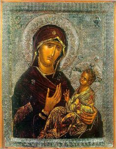 From the church of the Mother of God Peribleptos (St. Clement's), Ohrid, The Mother of God Peribleptos, century laat Byzantijns Byzantine Icons, Byzantine Art, Orthodox Icons, Medieval Art, 14th Century, Religious Art, Middle Ages, Ikon, Religion
