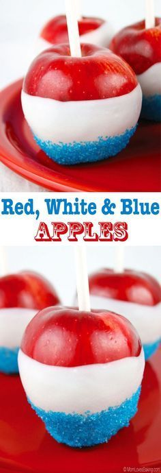Red, White and Blue Apples are the perfect patriotic treat. Even better, they're only 3 ingredients Royal Wedding street party food idea s! Mini Desserts, Holiday Desserts, Holiday Treats, Holiday Recipes, Summer Recipes, Fourth Of July Food, 4th Of July Party, July 4th, Patriotic Party