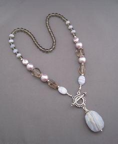 Purple Mist Necklace - Blue Lace Agate, Smoky Quartz, Glass pearls, Czech glass, Sterling Silver, Toggle Clasp and Pendant