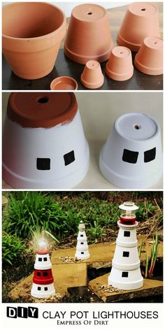 This garden art lighthouse is a fun project to do with kids. Pick a favourite lighthouse and recreate it with clay pots and some paint. Add a working solar lamp to make it magical at night.