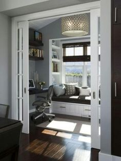 office spaces, office nook, small offices, light fixtur, pocket doors, reading nooks, office area, window seats, home offices