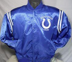 Vintage Indianapolis Colts NFL Mens Size Large Satin Blue Starter Jacket #Starter #IndianapolisColts
