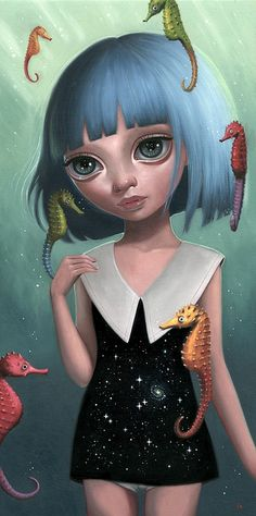 """Ana Bagayan """"Aquatic Portal"""" oil on wood x Part of 'Synergy' - a dynamic group show curated by Thinkspace Gallery, on view the month of May at Spoke Art in San Francisco. No Ordinary Girl, Arte Lowbrow, Portal Art, Spoke Art, Alien Art, Pop Surrealism, Eye Art, Surreal Art, Portrait"""