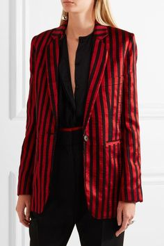 Red satin, black twill Button fastening at front 44% polyester, 41% cotton, 15% silk; buttons: 100% horn (Buffalo) lining: 51% cotton, 49% rayon Dry clean Imported