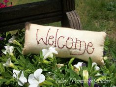 Decorative Welcome Pillow  Tuck Hand Stitched by valleyprimitives