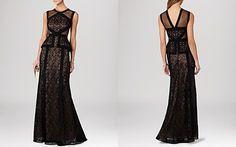 BCBGMAXAZRIA Gown - Viviana Sleeveless Illusion Lace Peplum | Bloomingdales
