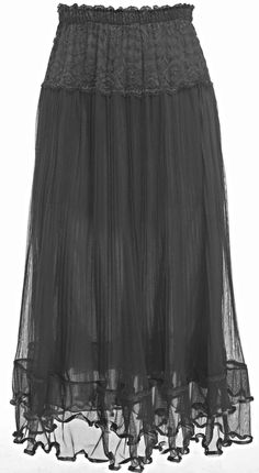 black mesh & cotton maxi skirt <3