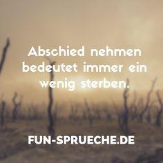 Abschied nehmen bedeutet immer ein wenig sterben. Gefunden auf www.fun-sprueche.de