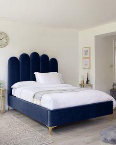 Navy Blue Bedding, Navy Blue Bedrooms, Velvet Upholstered Bed, Velvet Headboard, Velvet Bed Frame, Velvet Bedroom, Blue Headboard, Ottoman Bed, Ottoman Storage