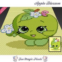 Two Magic Pixels - Apple Blossom Crochet Pixel, Crochet C2c, Manta Crochet, Crochet Chart, Crochet Blanket Patterns, Baby Blanket Crochet, Crochet Toys, Cross Stitch Patterns, Knitting Patterns