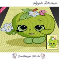 Apple Blossom crochet blanket pattern; knitting, cross stitch graph; pdf download; Shopkins; no written counts or row-by-row instructions by TwoMagicPixels, $3.79 USD