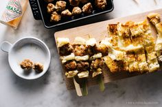 spicy chicken meatballs + grilled cheese skewers