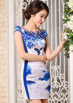 White with Blue Floral Print & Flower Applique Reformed Qipao Day Dress - iDreamMart.com