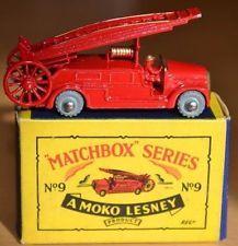 Boxed Matchbox Lesney Moko Regular Wheel No 9b Red Dennis Fire Engine MW - VNM