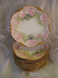 """Breathtaking Museum Quality"" Gorgeous Antique Limoges France DESSERT from oldbeginningsantiques on Ruby Lane"
