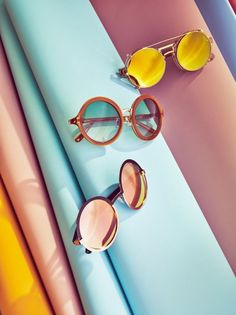 Sunglasses: round retro pink mirrored yellow summer accessories