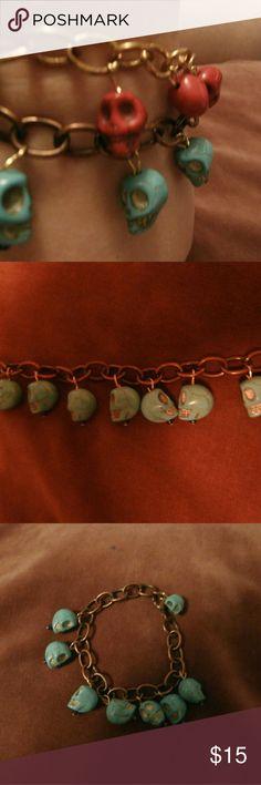 Bronze charm bracelet with aqua skull charms Bronze colored chain with aqua skull charms Handmade by lmw0082 One of a kind lmw0082 Jewelry Bracelets