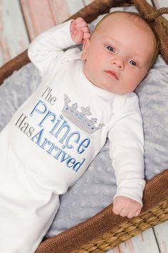 Boy Shirt.  The Prince Has Arrived https://www.etsy.com/listing/195974189/prince-has-arrived-onsieanswered-prayers