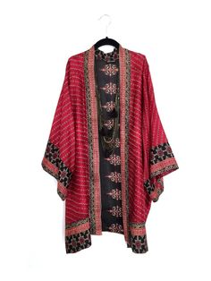 Silk Kimono jacket oversized style in burgundy red and black