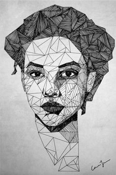 triangle-portrait-hand-drawn-illustration-art http://thecarolinejohansson.com/