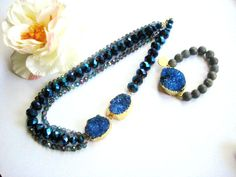 Crystal glass bluelapis beads with two druzy by NKcollection