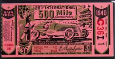 1940 Indianapolis 500 Ticket Stub