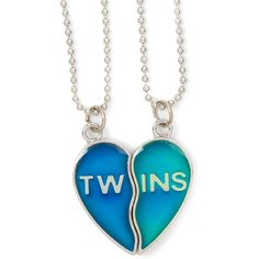 Best Friends Twins Mood Heart Pendant Necklaces ($5) ❤ liked on Polyvore featuring jewelry, necklaces, jewels, heart pendant necklace, heart jewellery, heart jewelry, heart necklace and heart shaped necklace