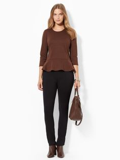 This contemporary crewneck top is crafted from a smooth stretchfabric blend and features a pretty peplum hem and threequarterlength sleeves. #Fashion  #RalphLauren