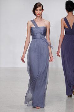 Amsale bridesmaid gown, Spring 2013. Draped asymmetrical purple chiffon, floor length.
